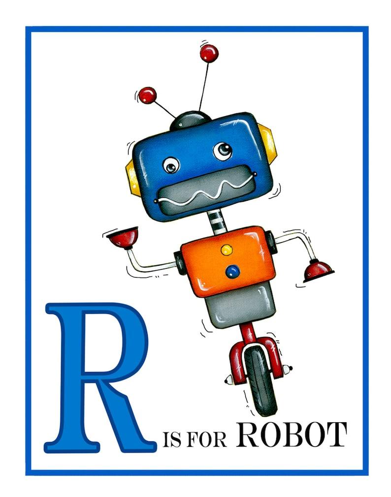 Personalized Robot Wall Art  Boys Wall Art Robot Decor Kids image 0