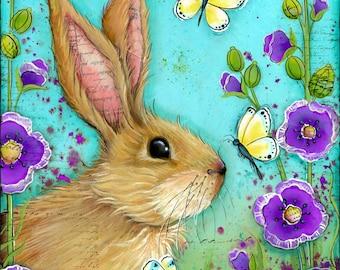 Bunny Wall Art Print~ Nature Art~ Girls Nursery Room~ Bunny in Flowers