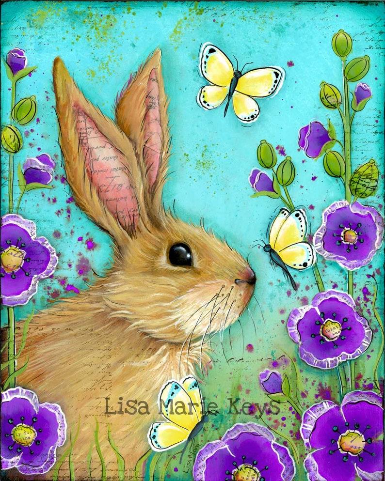 Bunny Wall Art Print Nature Art Girls Nursery Room Bunny in image 0