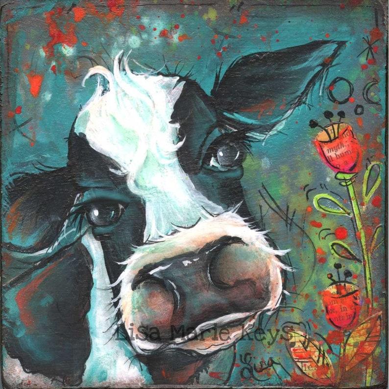 Cow Wall Decor Kitchen Wall Art Farm House Art Print image 0