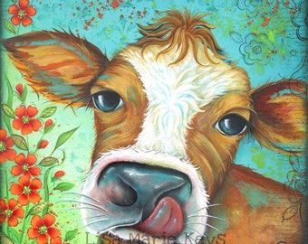 Brown and White Cow Print~ Home Decor Wall Art~ Hand Painted~ Kitchen Decor~ Whimsical Art~ Farm House Decor