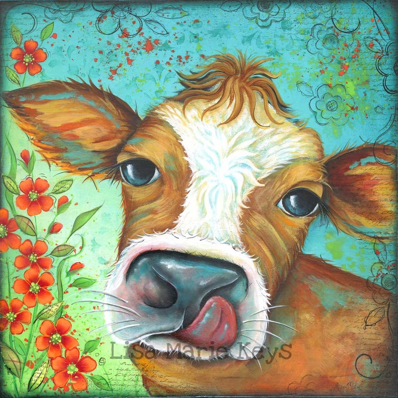 Brown and White Cow Print Home Decor Wall Art Hand Painted image 0