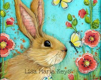 Bunny Decor Wall Art~ Girls Room Decor~ Girls Nursery~ Rabbit Butterflies Flowers