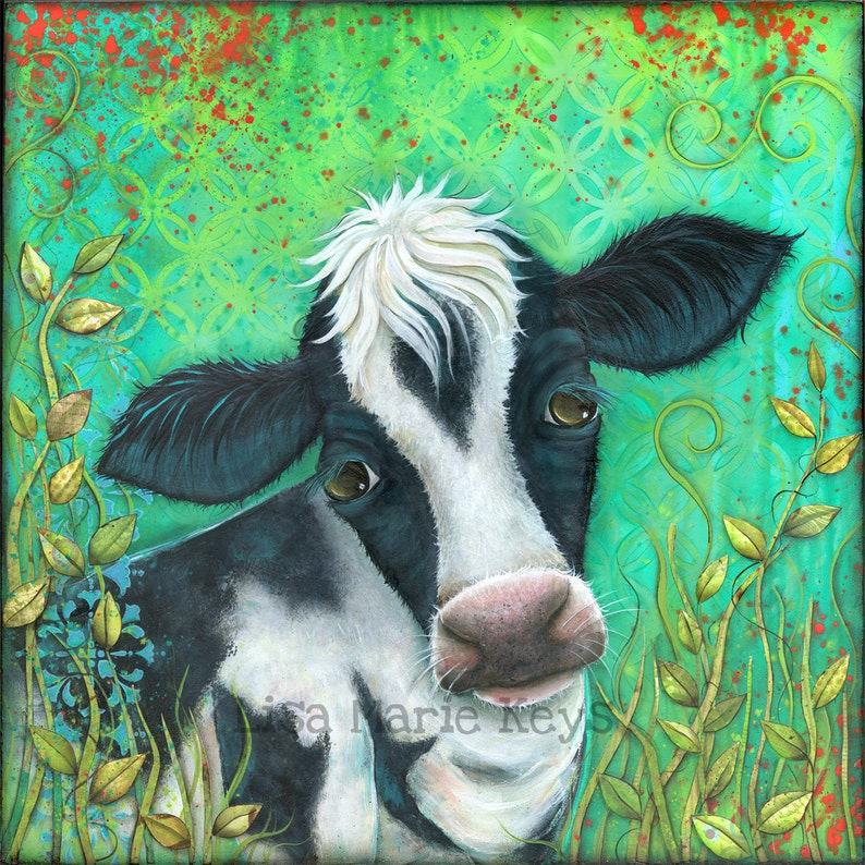 Cow Art Print Colorful Cow Kitchen Wall Art Farm Decor image 0