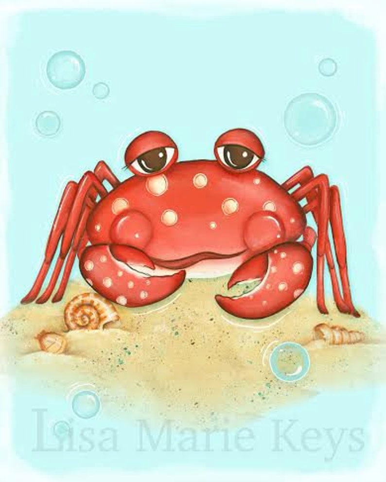 Crab Wall Art Sea Life Nautical Decor Children's Wall image 0