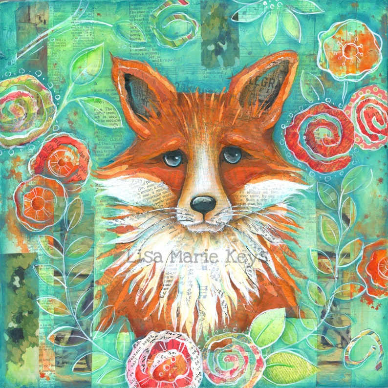 Fox Wall Art Woodland Animals Fox Decor Art Print Home image 0