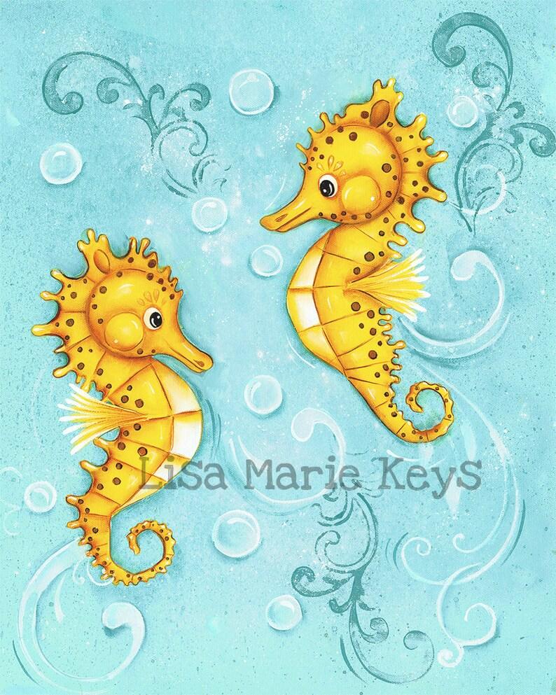 SeaHorses Childrens Wall Art Nautical Nursery Nautical image 0