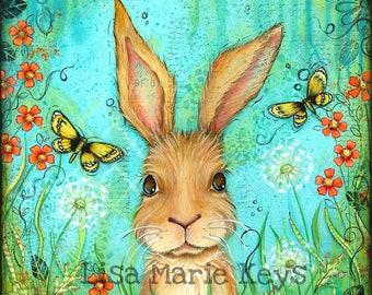 Bunny Wall Art~ Whimsical Art~ Nature Bunny~ Girls Nursery Decor~ Rabbit~ Bunny Butterfly Flowers