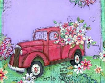 Vintage Truck Wall Art~ Truck Flowers~ Whimsical Art~ Old Truck~ Simple Things~ Memories Art