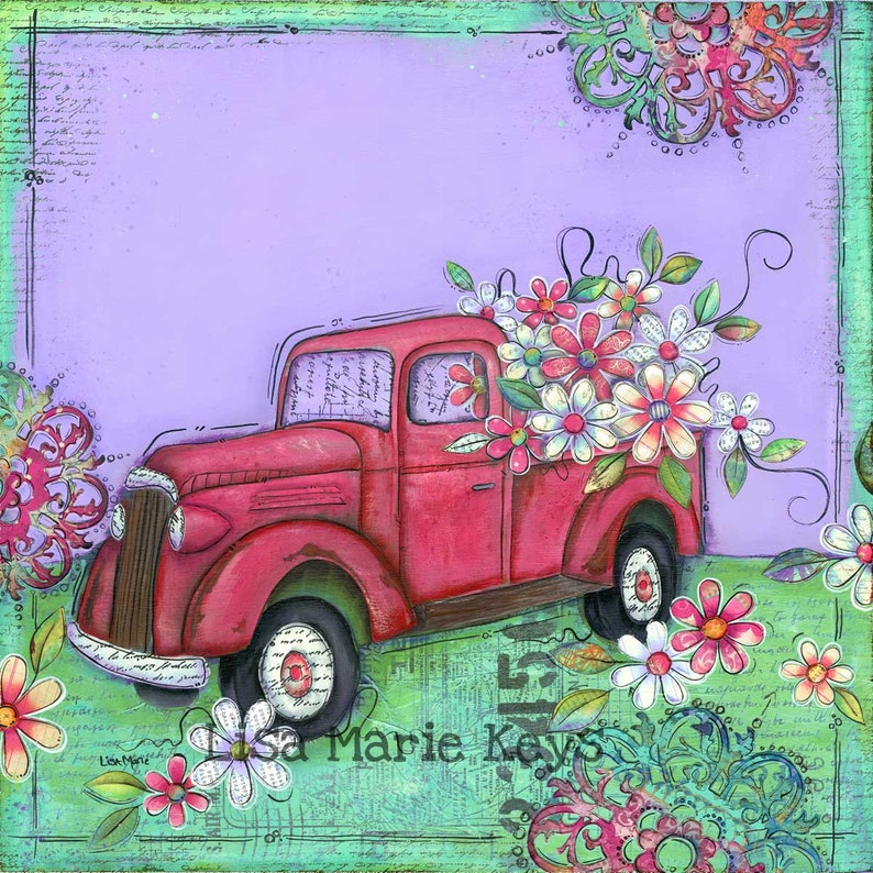 Vintage Truck Wall Art Truck Flowers Whimsical Art Old image 0