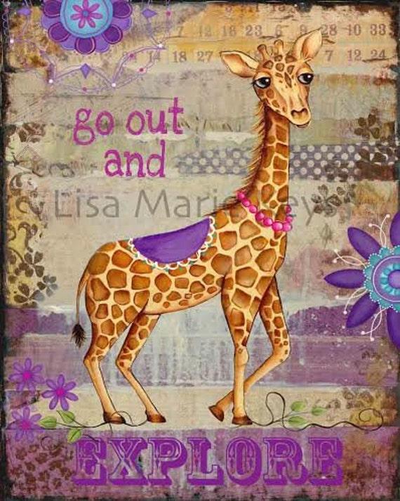 Giraffe Wall Art Girls Bedroom Purple Wall Art Giraffe Decor Art Print Teen Girl Room Tween Decor Art
