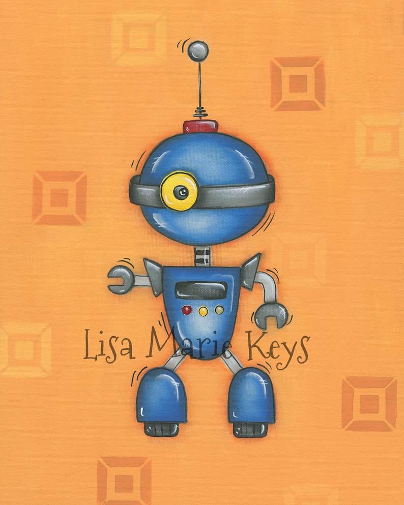 Orange Blue Robot, Childrens Wall Art, 11x14 Print, Boys Room, Cy-Bot Robot