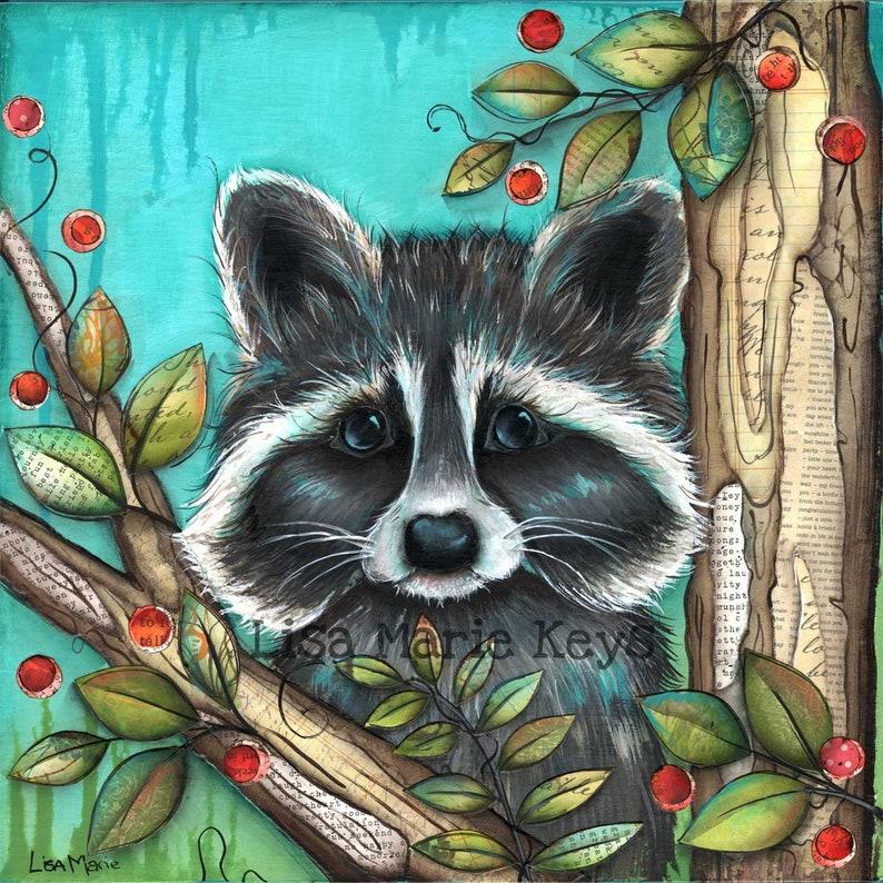 Raccoon Wall Art Wildlife Art Woodland Animals Forest image 0