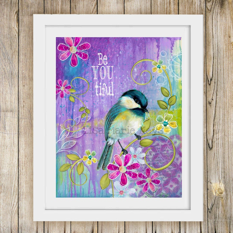Be-You-tiful Bird Wall Art  Teen Girl  Bird Decor  Girl image 0