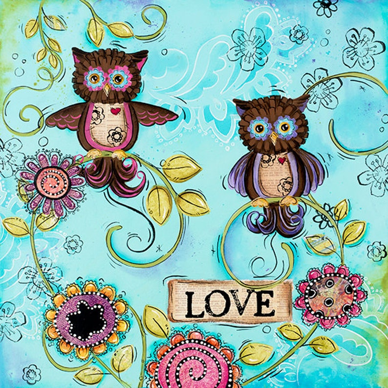Owl Wall Art Childrens Wall Art Owls Decor Funky | Etsy
