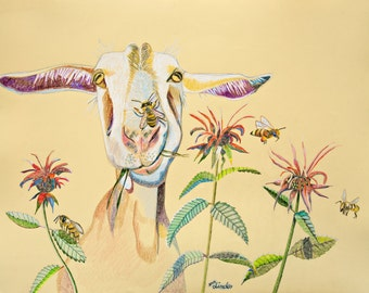 Frig Magnet Art Goat Bee Balm and Honey Bees