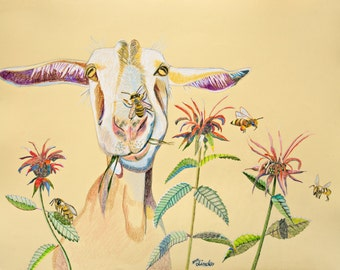 Art Print Goat Bee Balm and Honey Bees