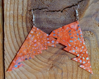 Orange and Gray zig zag to the point Earrings