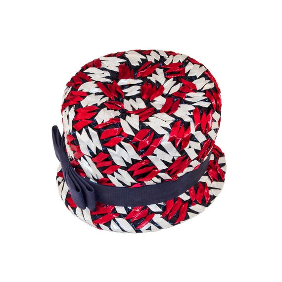 Vintage Bucket Hat Red White   Blue Straw Hat by Michell  3716e41b037e