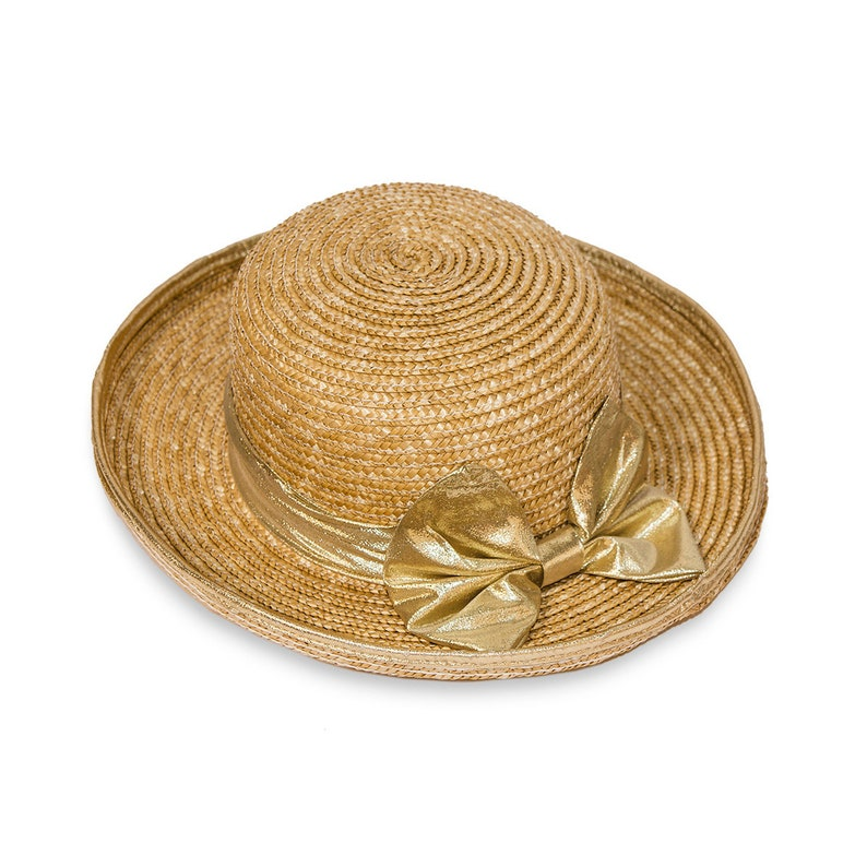 b193eb1902e Wide Brim Straw Hat Gold Lame Bow Sun Hat Spring Summer