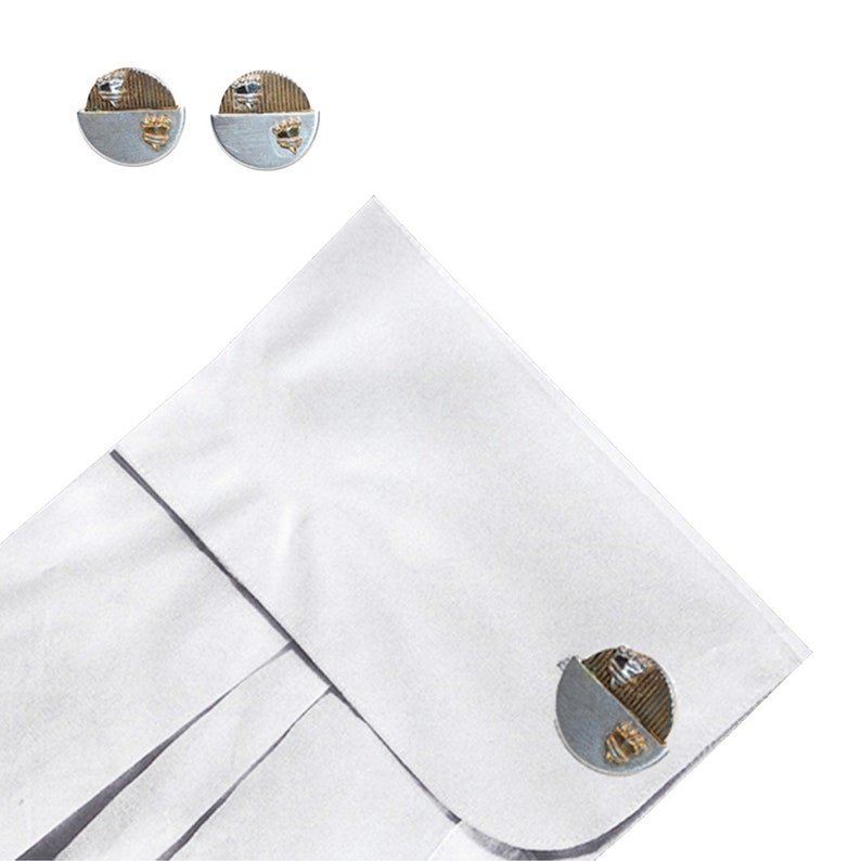 Mid Century Groom Vintage 1950s Gold /& Silver Shield Work Appropriate Crown Cufflinks Evening Cocktail Fathers Day Hickok CuffLinks