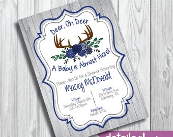 BABY DEER Oh DEER Invitation, Baby Shower, Diaper Party - Digital Download