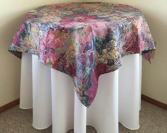 Table Square - Small Tablecloth - Floral Tablecloth - Pink and Purple Table Square - Cotton Table Linen