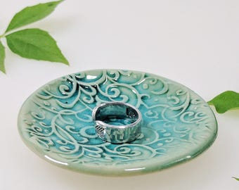 Scrolling Vine Ring Dish, Turquoise, Ring Dish, In-Stock