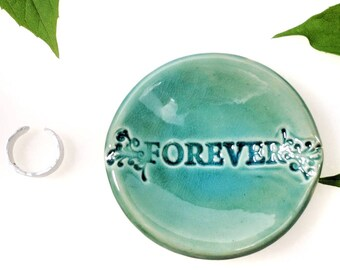 Wedding Ring Dish, Turquoise, Forever, Ring Dish, In-Stock