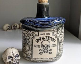 Unfiltered poison bottle, Blue Black, Magic Potion, Apothecary bottle, Spooky Halloween decor
