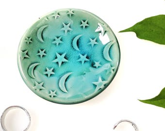 Jewelry Ring Dish Moon and Star, Turquoise, Ring Dish, In-Stock