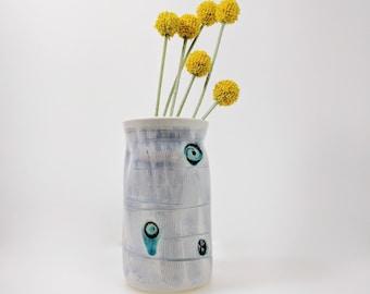 White Ceramic Vase, Turquoise Spiral, Ceramic Vase, Ready to Ship