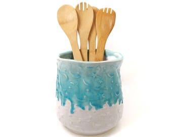 Ceramic Utensil Holder, Kitchen Utensil Jar, Star and Moon, Turquoise, Celestial Decor, Pottery Crock, Housewarming Gift