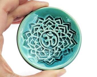 OM Ring Dish, Turquoise, Ring Dish, Yoga Teacher Gift