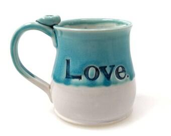 Love Ceramic Mug, Handmade Pottery Mug, Gift for Mom, Anniversary Gift, 14oz, In-Stock