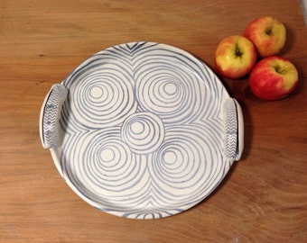 Ceramic Platter, Large Serving Tray, Black and White Circle Pottery, Ready to Ship