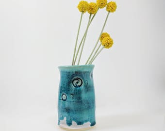 Turquoise Flower Vase, Textured, Flower Vase, Ready to Ship
