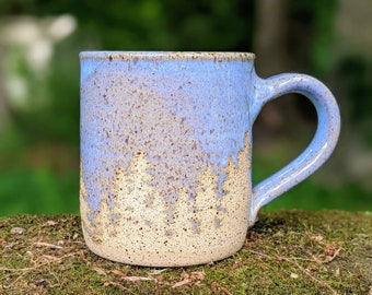 Forest Coffee Mug, White Blue or Brown Outdoors Pottery Mug, Trees Wilderness Handmade Stoneware