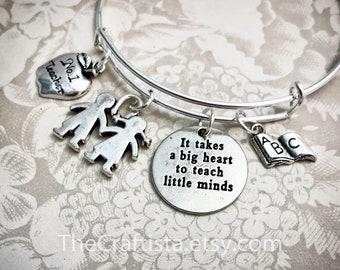 TB11, Personalized Teacher Adjustable Bangle, Teacher's Gift, Teacher Jewelry, ABC Book Charm, Kids Charm, Teacher Gifts, Teacher Charm