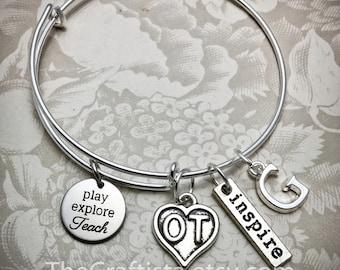OT Bracelet, Occupational Therapy Bangle, OT Charm, Occupational Therapy Gift, Gifts for OT, Play Explore Teach, Ot Jewelry, Ot Gifts