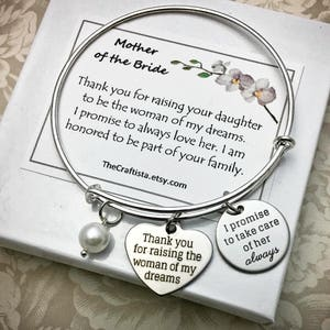 Mother of the Bride Adjustable Bangle Mother of the Bride Personalized Bracelet Mom of the Bride Keepsake Mother of the Bride Gift MOB14