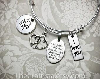 Mimi Bangle, Mimi Bracelet, Mimi Charm, Mimi Gift, Mimi Jewelry, Gifts for Mimi, Grandma Bangle, Grandma of the Bride Gifts, Mimi Gifts