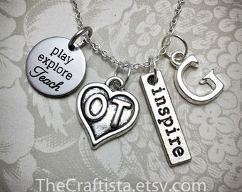 OT Necklace, Occupational Therapy Necklace, OT Charm, Occupational Therapy Gift, Gifts for OT, Play Explore Teach, Ot Necklaces, Ot Gifts