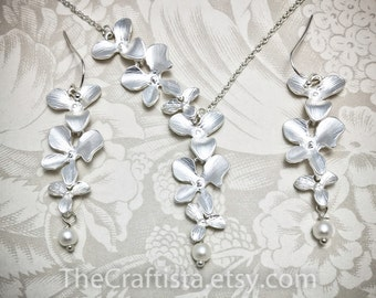 Bridal Necklace and Earrings, Pearl & Orchids Necklace , Bridal Earrings, Bridal Jewelry, Orchid Necklace, Wedding Jewelry, Orchid Jewelry