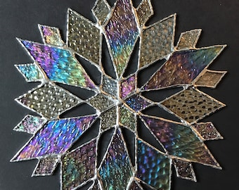 stained glass snowflake suncatcher  (design 40D).