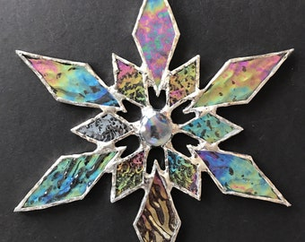stained glass snowflake suncatcher (design 31E).