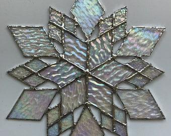 stained glass snowflake suncatcher  (design 15C)