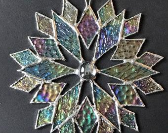 stained glass snowflake suncatcher (design 7B)