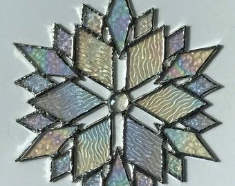 stained glass snowflake suncatcher (design 41B).
