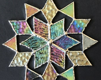 stained glass snowflake suncatcher  (design 6D)